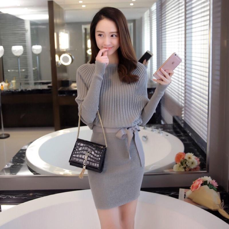 2 色2016  女裝送腰帶包臀裙蝙蝠袖毛衣女式針織衫連衣裙
