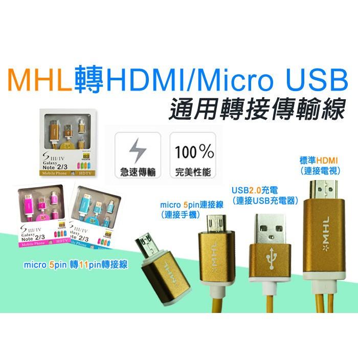 MHL 轉HDMI 5Pin 11Pin 款Micro USB MHL 轉HDMI 2 米