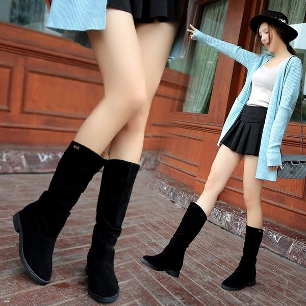 款單靴平底低跟短靴絨面長靴內增高中筒靴磨砂皮靴3 色35 40