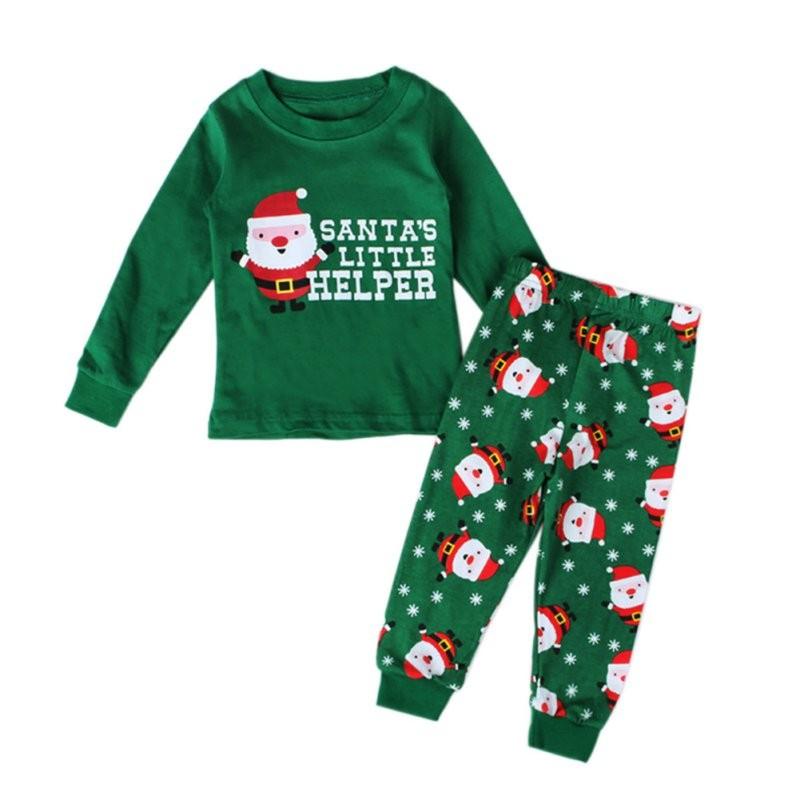 寶寶的第一個聖誕節聖誕寶貝男孩女孩睡衣套裝上衣褲子衣服