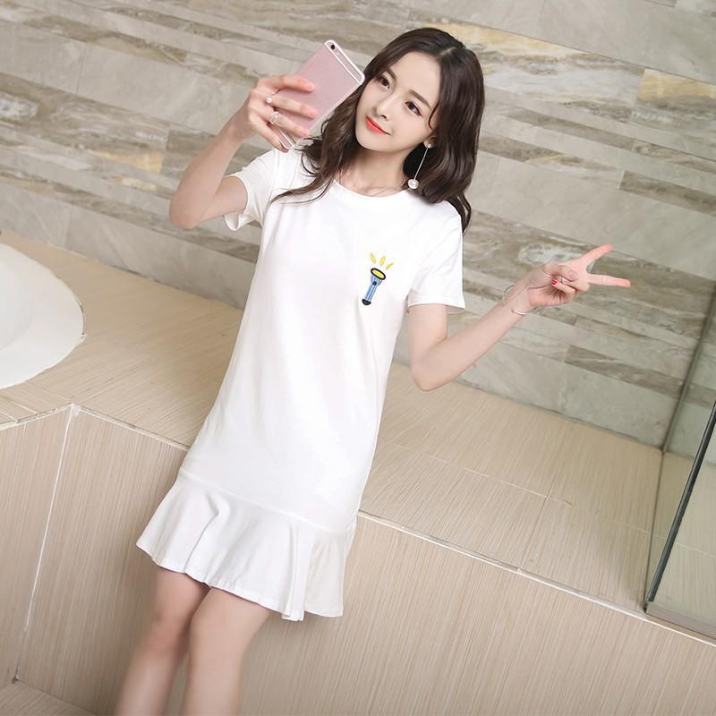 女士 連衣裙短袖連衣裙休閒女士女孩刺繡連衣裙