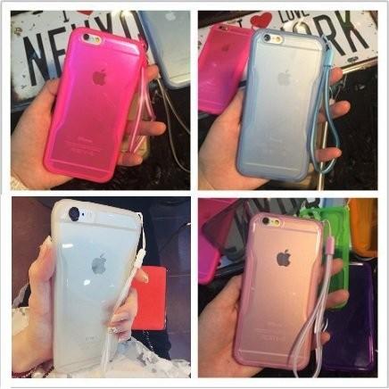 螢光色果凍iPhone6 6S 搶眼透明矽膠掛繩手機殼PLUS 全包邊防摔軟殼