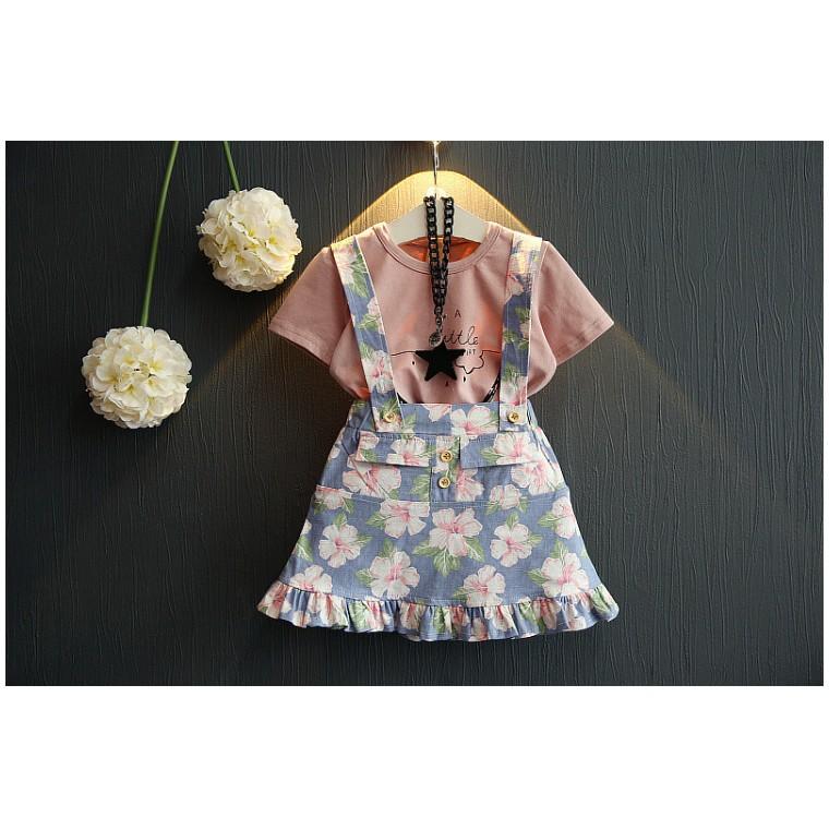 130 元區 女童淑女短袖T 恤碎花公主裙套裝