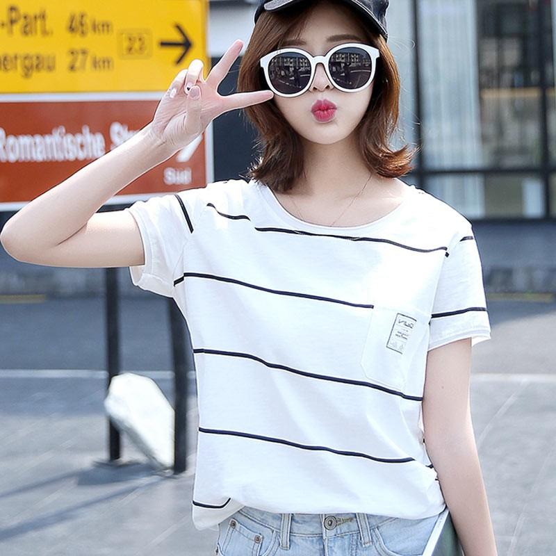 實拍圓領寬鬆條紋短袖t 恤 短袖衣服加大 顯瘦學生大碼衣著时尚潮流 韓系學院風休閒T 恤
