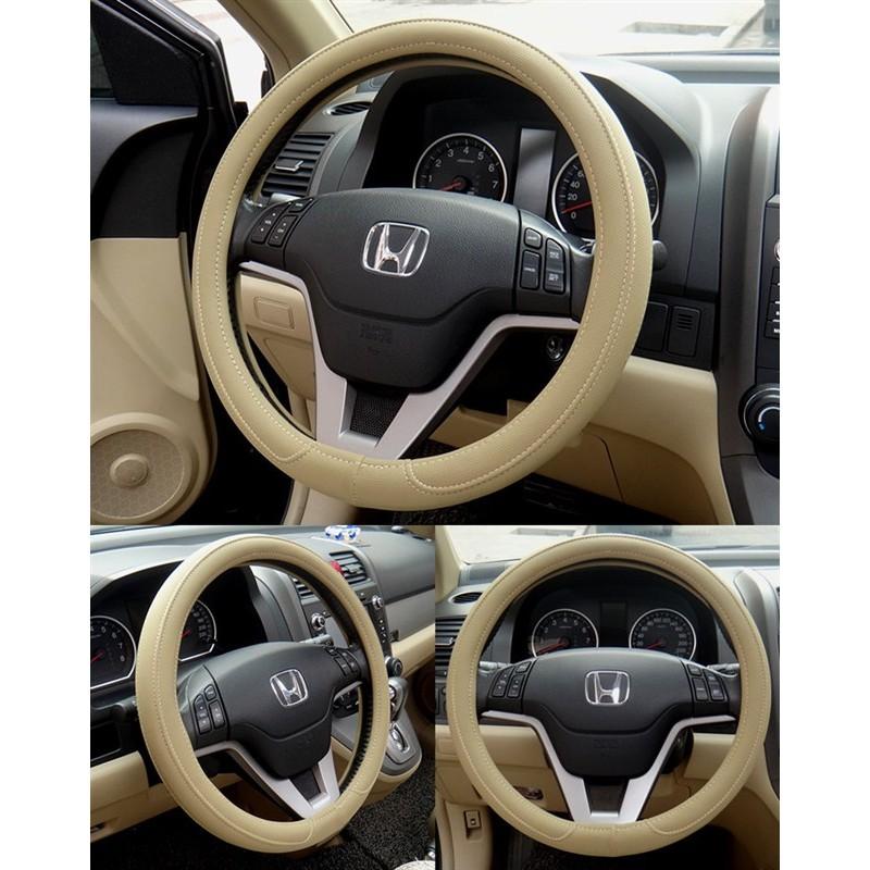 ~SPSP ~米色黑色灰色M 號汽車方向盤皮套 皮革 透氣 方向盤直徑37 38 公分