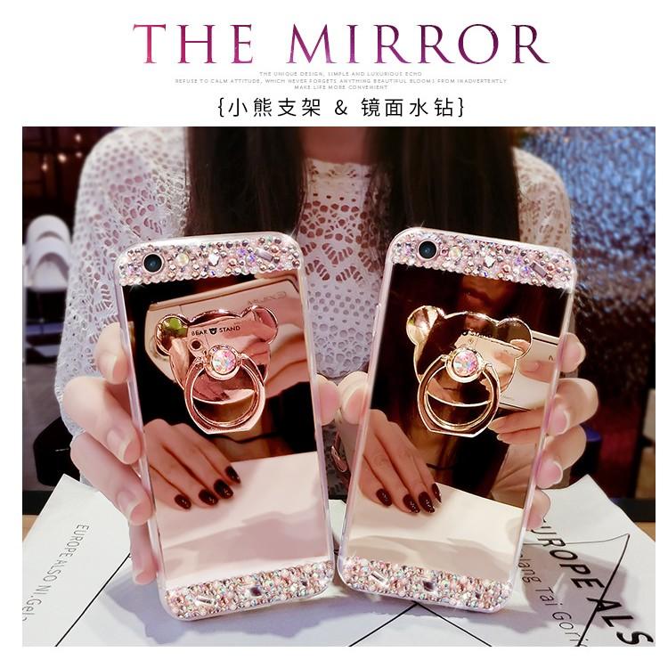 iphone6 iPhone 7 水鑽鏡面女手機殼iphone6Plus 支架防摔殼指環扣