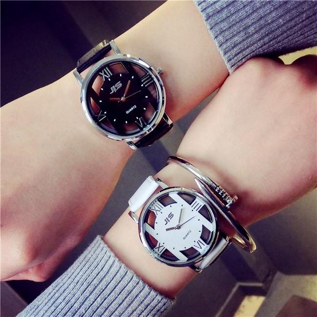 潮人 韓國休閒雙面鏤空復古原宿港風男女學生皮帶情侶石英手錶手錶 表 表手錶 表 表手錶 表