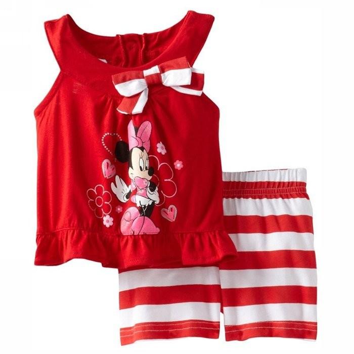 女童 卡通印花無袖兩件套賠錢 188 元兒童背心短褲套裝家居服外出服睡衣