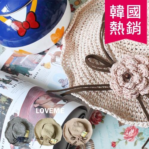 優雅古典花朵裝飾編織帽防曬帽小臉遮陽帽編織帽散熱