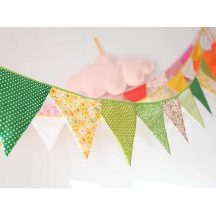 青草綠棉布碎花裝飾三角旗生日派對露營野餐派對慶生小物生日 生日佈置