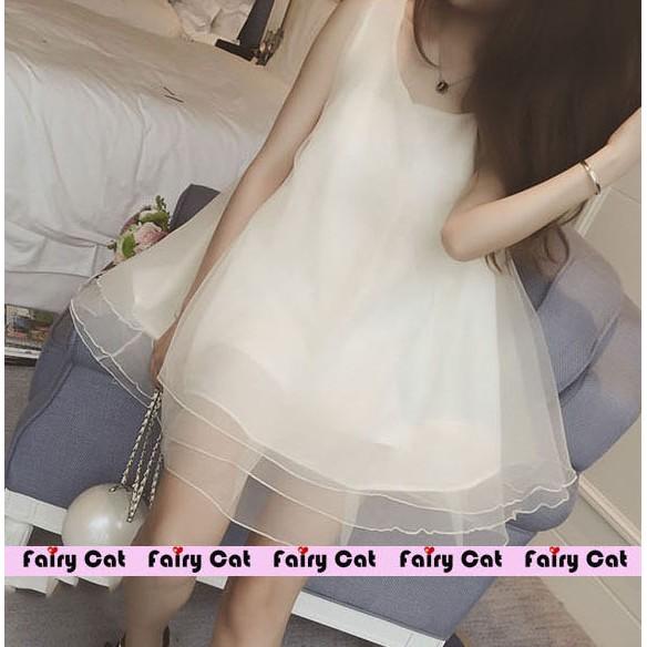 ❤❤Fairy Cat ❤❤ 甜美女孩蓬蓬無袖洋裝連身裙連衣裙2 色