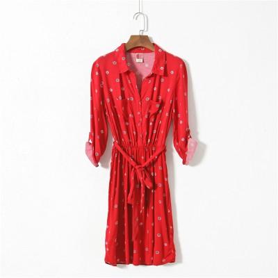 帶有古著風的復古印花長版襯衫綁帶立領洋裝度假感s 2xl