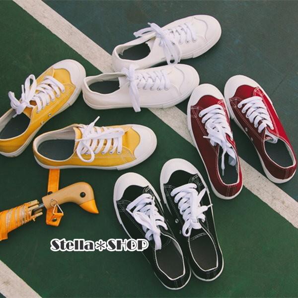 Stella ~SHOP T1 韓國ulzzang 韓星同款無印風低筒綁帶帆布鞋共6 色此