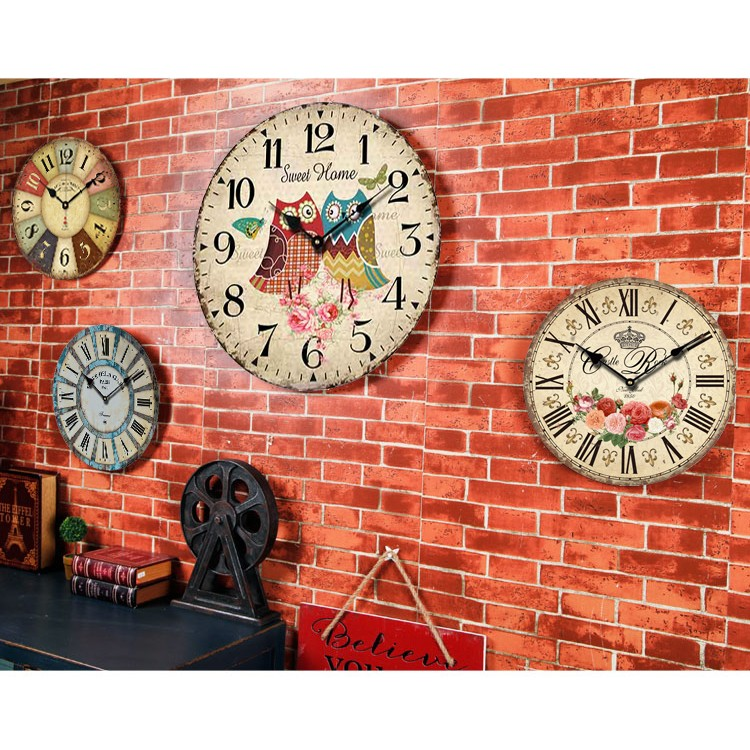 歐式簡約復古懷舊時鐘 展覽復古立體藝術電池掛鐘美式鄉村複古鐘30cm 木質掛鐘