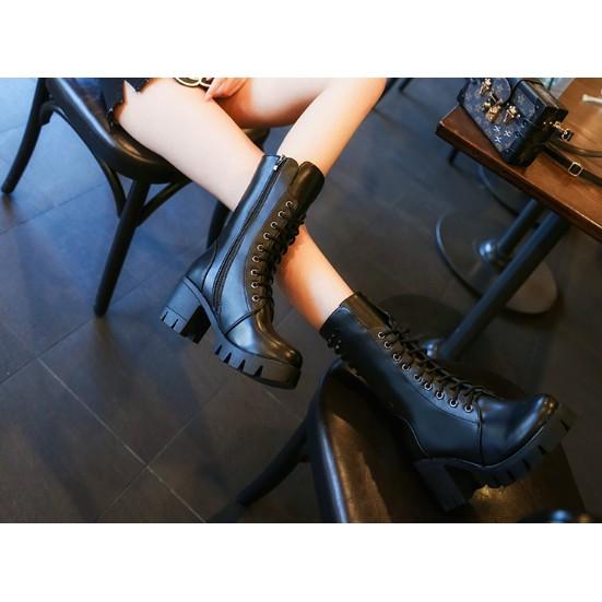 繫帶高筒靴厚底長靴子圓頭中跟馬丁靴
