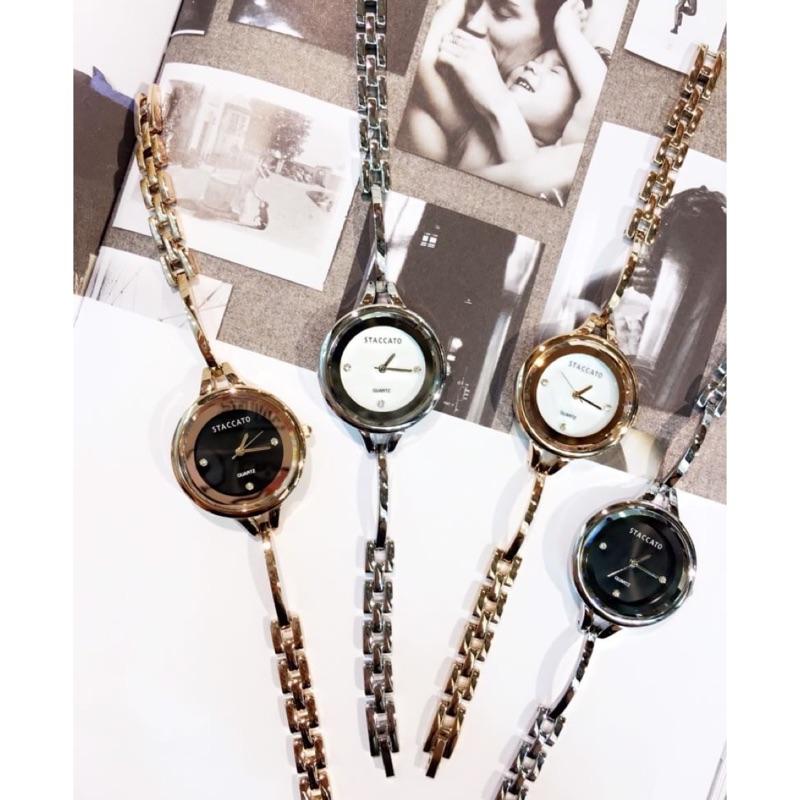 :玫瑰金白韓國空運STACCATO 外圈鏡面錶框更顯簡約大方小心機的錶內小水鑽點綴手環式錶