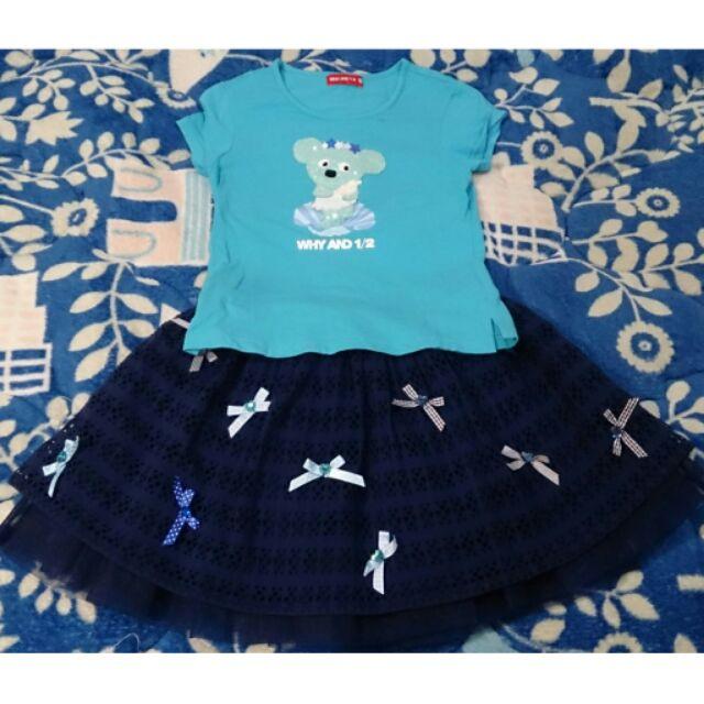 換季降價一件不留Why 1 2 海洋風普普熊藍色上衣蝴蝶結藍色裙子