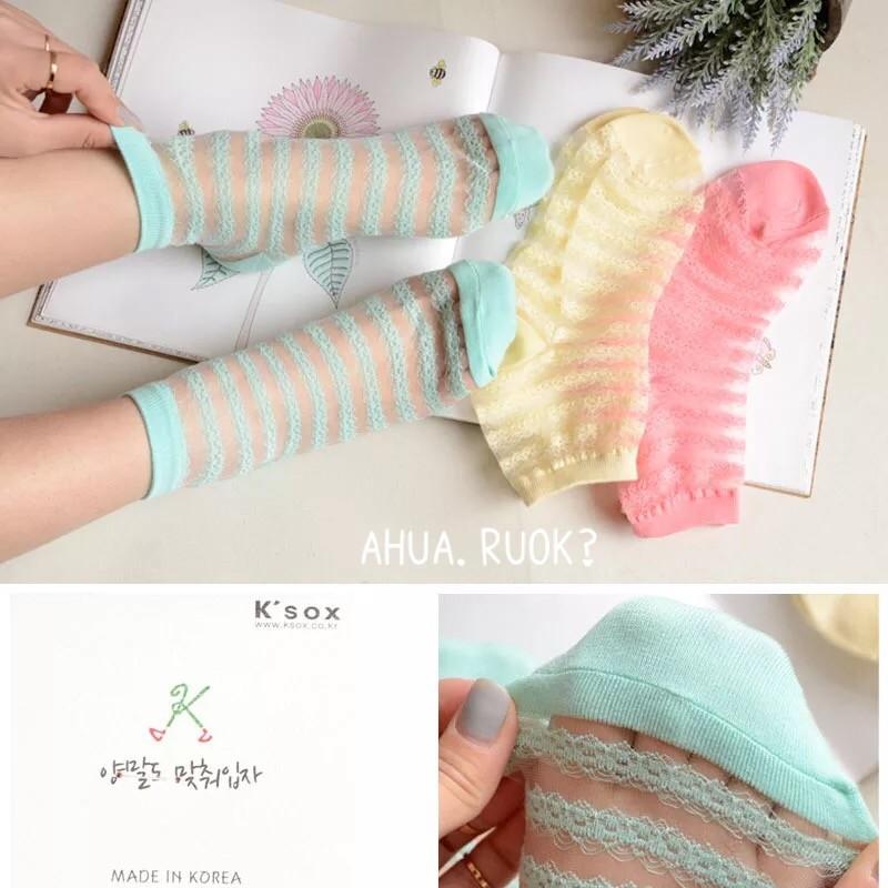 ~ 8 雙399 ~韓國KSOX 蕾絲鏤空條紋水晶透膚絲襪短襪子中筒襪可愛卡通動物性感復古