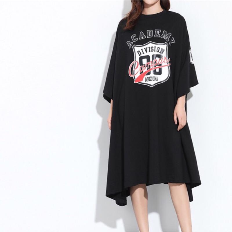 Y2 ™傘狀數字美式印花中袖長版t 恤連身衣短袖洋裝▪️ 休閒寬鬆 大版中大 顯瘦修身 款