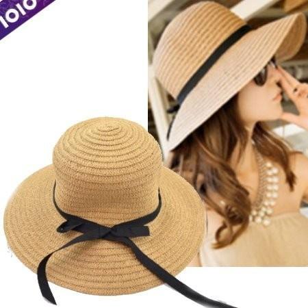 Accn19 ~出口日韓~浪漫風黑緞帶簍空編織大帽簷可折好攜草帽遮陽沙灘帽C2440
