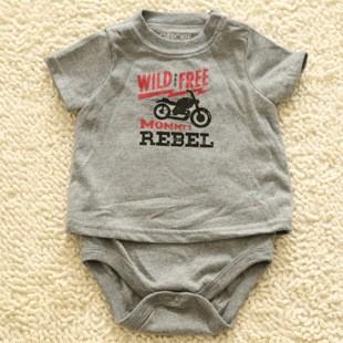 正品circo 男寶寶短袖三角爬服純棉新生兒嬰兒包屁衣摩托車假兩件