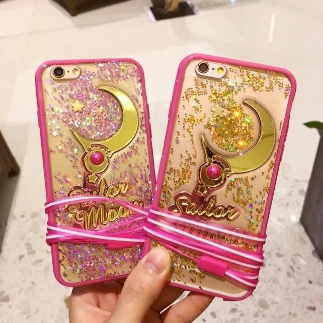 美少女戰士星月棒滴膠立體軟邊閃粉亮片透明軟殼掛繩iPhone6 6s 保護殼iPhone6