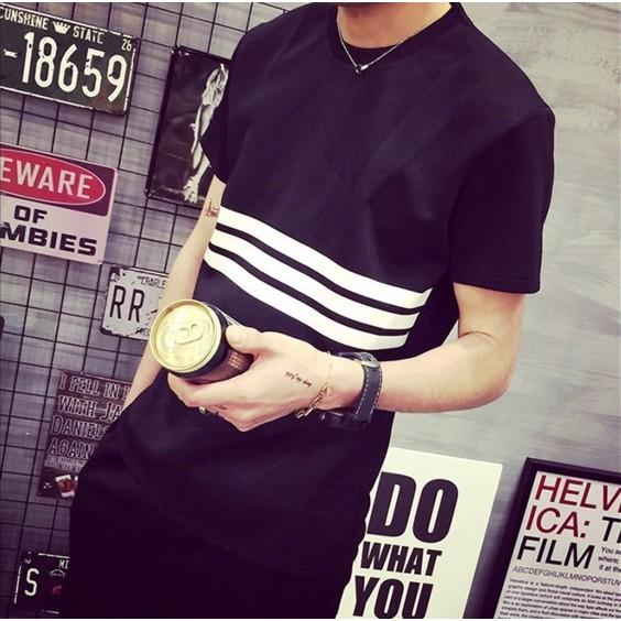 日韓風夏裝男士三條杠修身短t 純棉透氣簡約休閒百搭短袖大碼短T