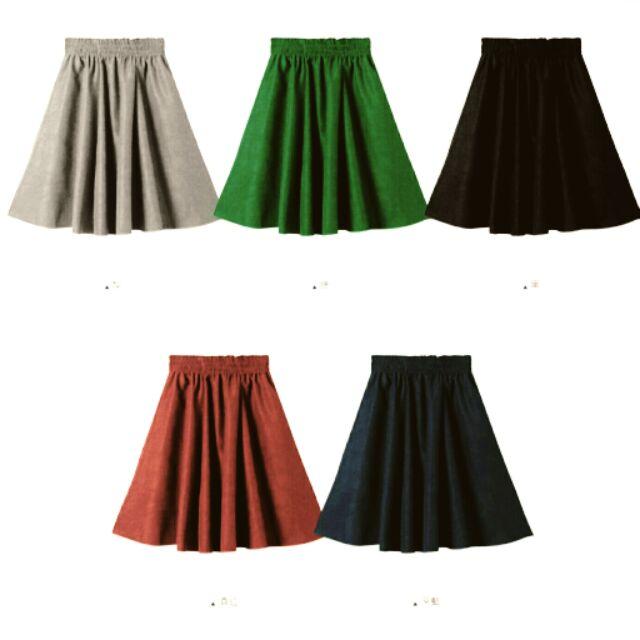 多色細絨毛料鬆緊中長裙及膝裙共6 色