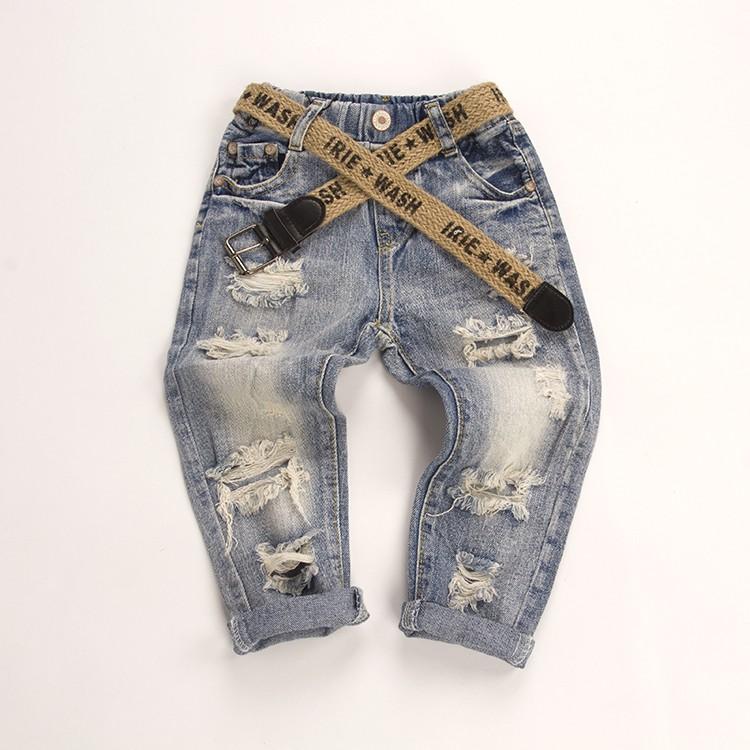 C2083 男童女童牛仔褲 兒童褲子破洞牛仔褲寶寶百搭修身長褲MAMA 咪呀 衣鋪