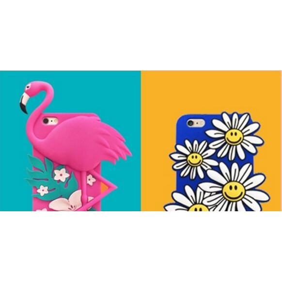 iPhone 6 Plus 韓國潮牌藍色笑臉太陽花小雛菊冰淇淋全包防摔矽膠軟殼手機殼