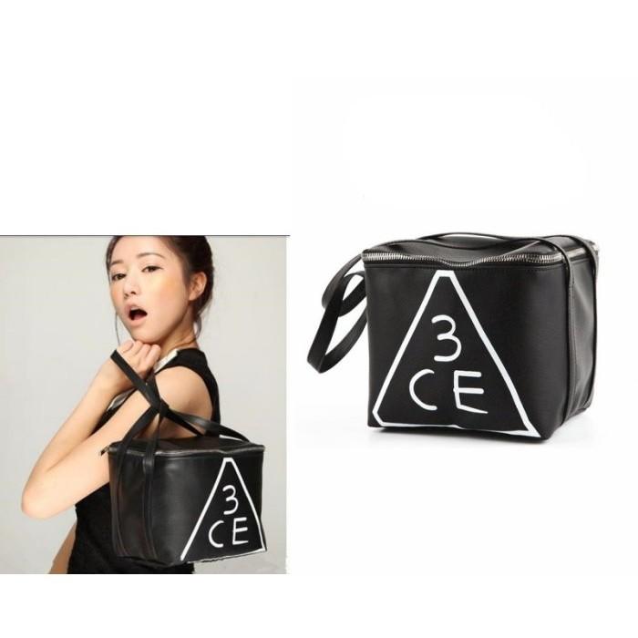 ~台中好物~韓國3CE stylenanda 大容量黑色仿皮方形化妝包收納包化妝師 手提化