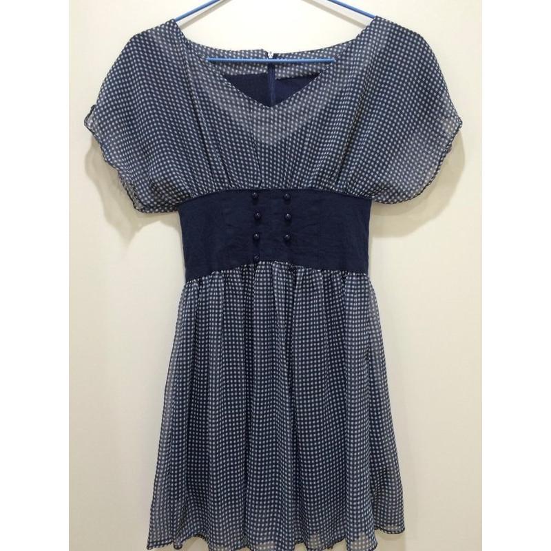 深藍色格紋雪紡高腰連身裙腰身氣質洋裝