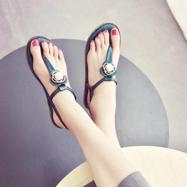 新品 中!2017  金屬鏈丁字扣性感夾腳平底鞋波西米亞沙灘涼鞋女