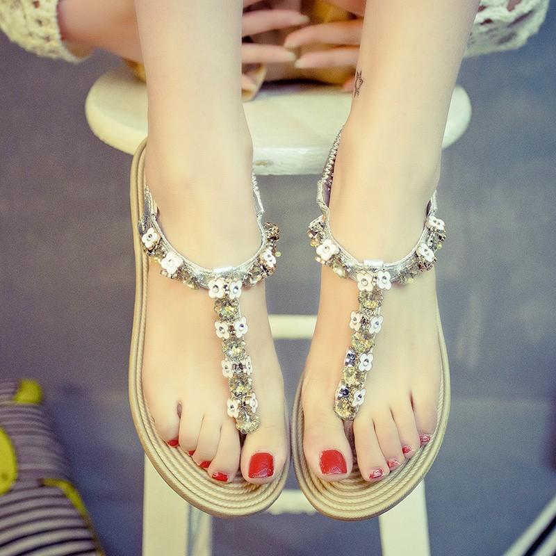 涼鞋涼鞋女 夾腳波西米亞夾趾羅馬坡跟涼鞋一字扣水鑽寶石搭扣平底~台北韓風館~