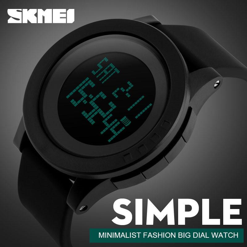 時刻美LED 大錶盤防水手錶1142 SKMEI 男士 休閒led 數碼日期防水石英模擬腕