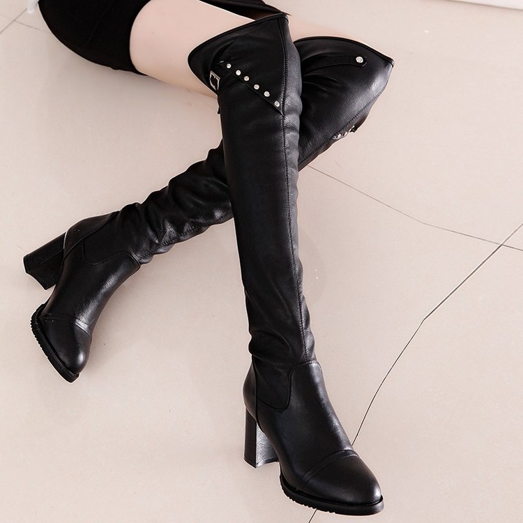 春秋 女士粗跟過膝長靴高筒靴 彈力布靴皮靴中跟女靴子
