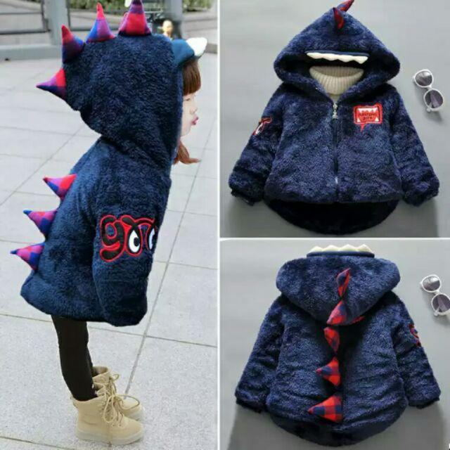男女童寶寶冬裝棉服棉袄小童恐龍加絨加厚1 4 歲棉衣外套