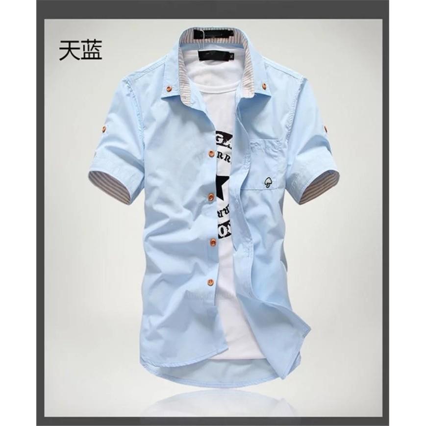 實拍男士多色短袖襯衫口袋襯衫蘑菇休閒大碼立領青年襯衫免燙襯衫服飾襯衫牛津襯衫正韓襯衫透氣純