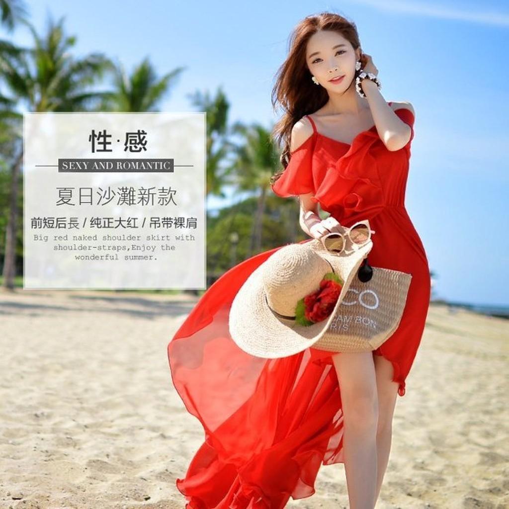 Hanagirl 陽光沙灘女神~紅色V 領荷葉細肩帶吊帶露肩雪紡長洋裝~ ~