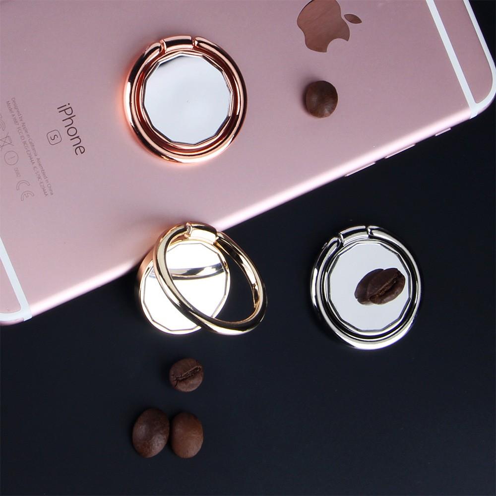 鏡面360 °旋轉12 邊形鏡子全金屬手機指環扣蘋果安卓手機 指環支架3 色入