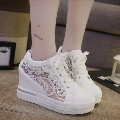 2017 內增高女鞋白色系帶女鞋厚底松糕鞋網紗透氣 鞋女