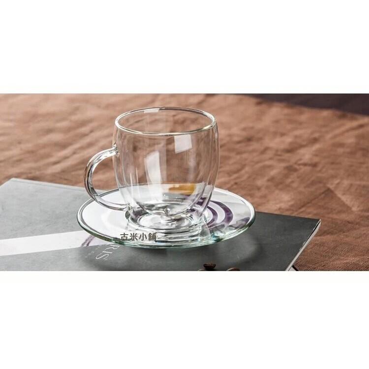 ~古米~雙層咖啡杯250ml 贈碟子雙層馬克杯雙層玻璃杯透明耐高溫隔熱玻璃杯媲美BODUM