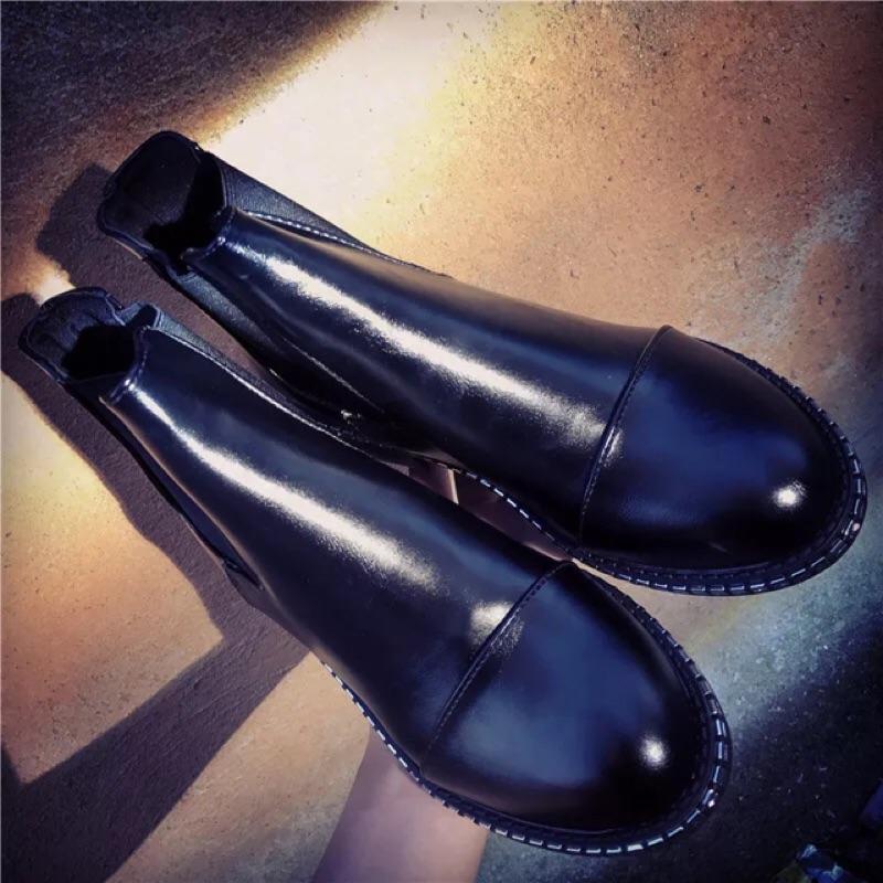 加價購英倫風騎士卯釘短靴厚底靴粗跟高跟馬丁靴裸靴低筒鞋 風靴子潘朵拉日韓