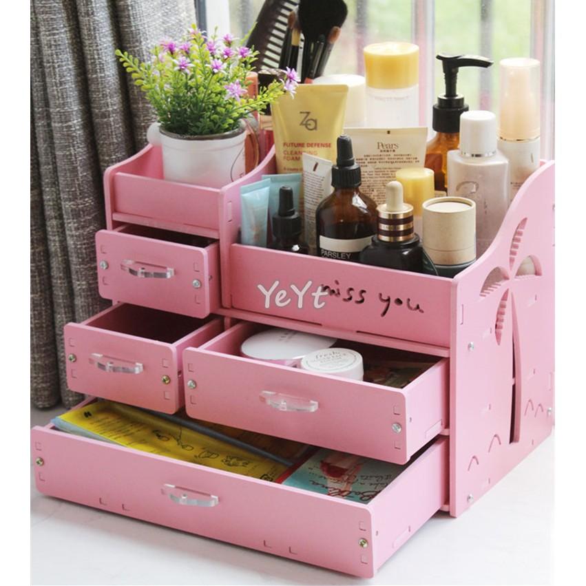 ~Ye Yt ~DIY 5mm 椰風4 抽A 防水加厚板桌面化妝品收納盒收納架 粉色白色