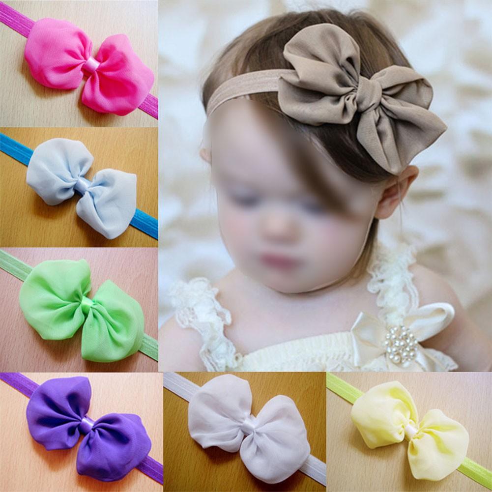 12 件嬰兒雪紡蝴蝶結髮帶
