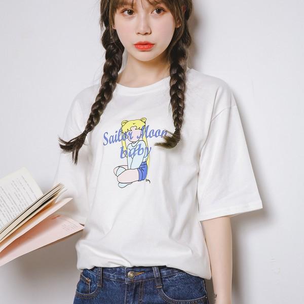 日系小清新夏裝美少女戰士字母印花中袖T 恤女寬松顯瘦五分袖短袖