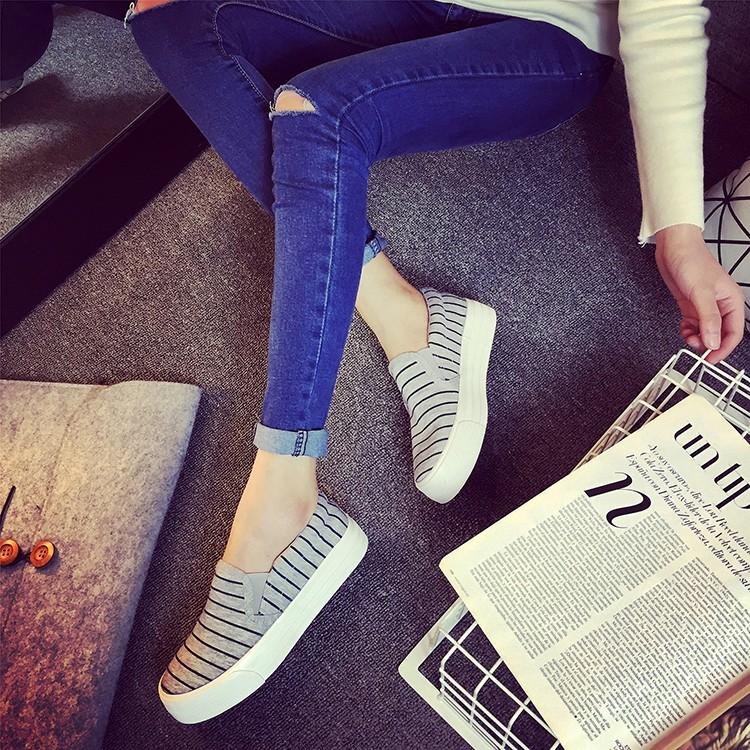 潮流單品 一腳蹬懶人鞋厚底 透氣學生板鞋松糕帆布鞋潮女鞋樂福鞋