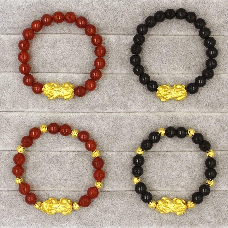 歐幣越南沙金鍍24k 男女士黑曜石紅瑪瑙手鏈招財轉運仿金貔貅飾品