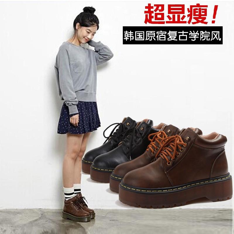 實拍 價韓國原宿系帶馬丁靴女英倫風學生復古短靴平底厚底圓頭短筒學院風