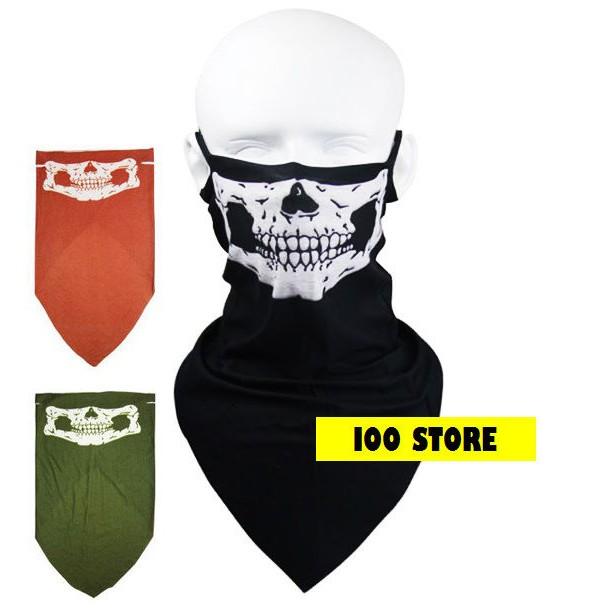 骷髏三角巾骷髏口罩骷髏面罩3 色 重機頭巾骷髏圍巾頭套騎車口罩自行車登山戶外防曬勾耳掛耳固